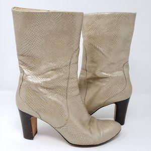 Cole Haan Heeled Boots Faux Snake Skin Zip Harper